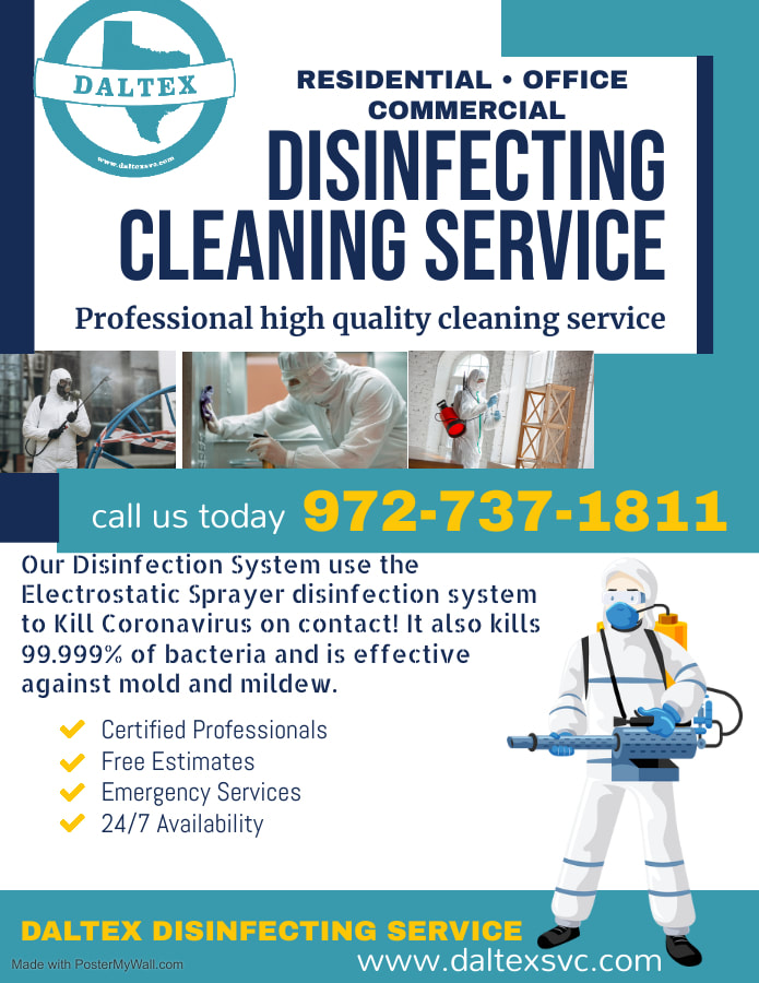 covid 19 cleaning companies near dallas tx. Deep cleaning service for corona virus also known as covid 19 in Dallas TX, we offer fogger disinfectant and electrostatic sprayer sanitizing
